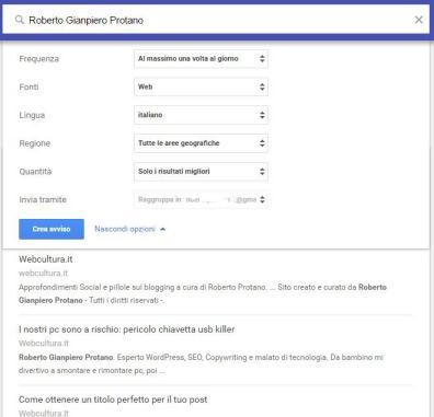 google alert esclusione termine